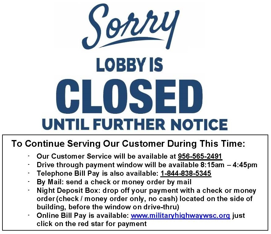 Sorry, Our Lobby is Closed until Further Notice!